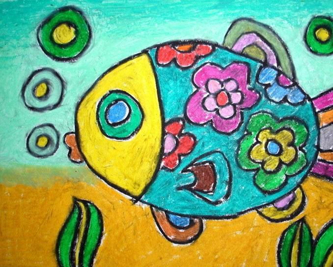 幼儿教育:儿童水彩画《畅游的小金鱼》-中大网校儿童