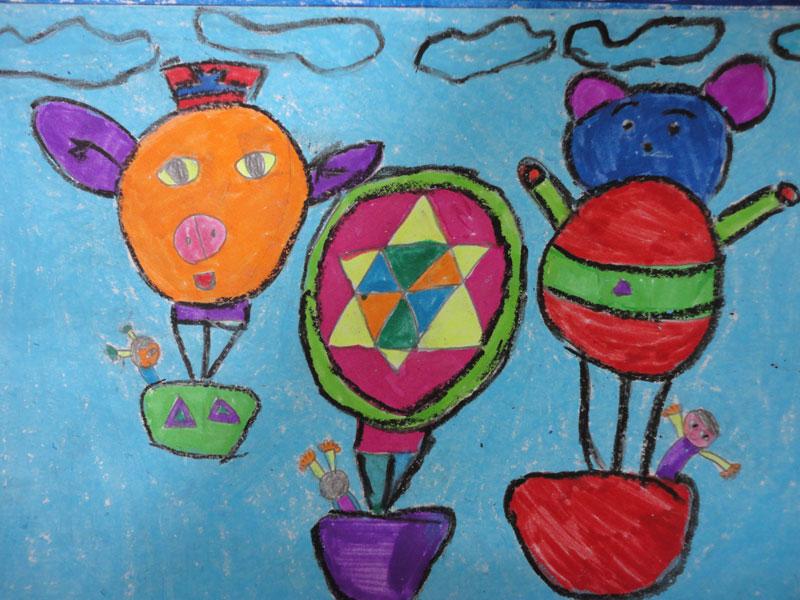 儿童油棒画《热气球》