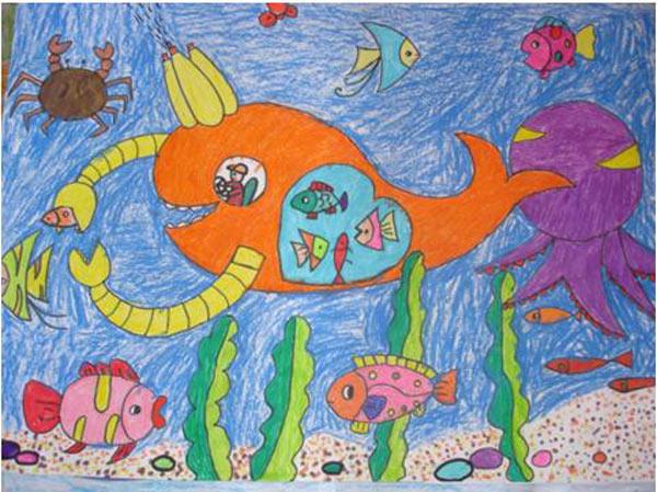 美丽海底风景水彩画