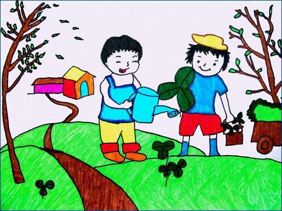 儿童水彩画《我来浇花》