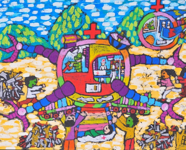 儿童科幻画《医疗机器人》