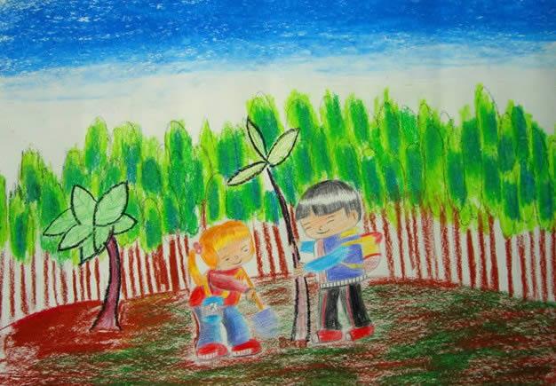儿童版画《我们和小树一起成长》