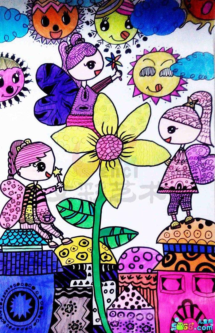 儿童水彩画《简单水彩画图片大全-花香》; 儿童简单水彩画图片图片