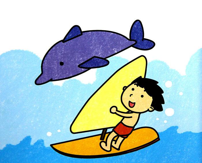 简单漂亮的画画图片 动物海豚