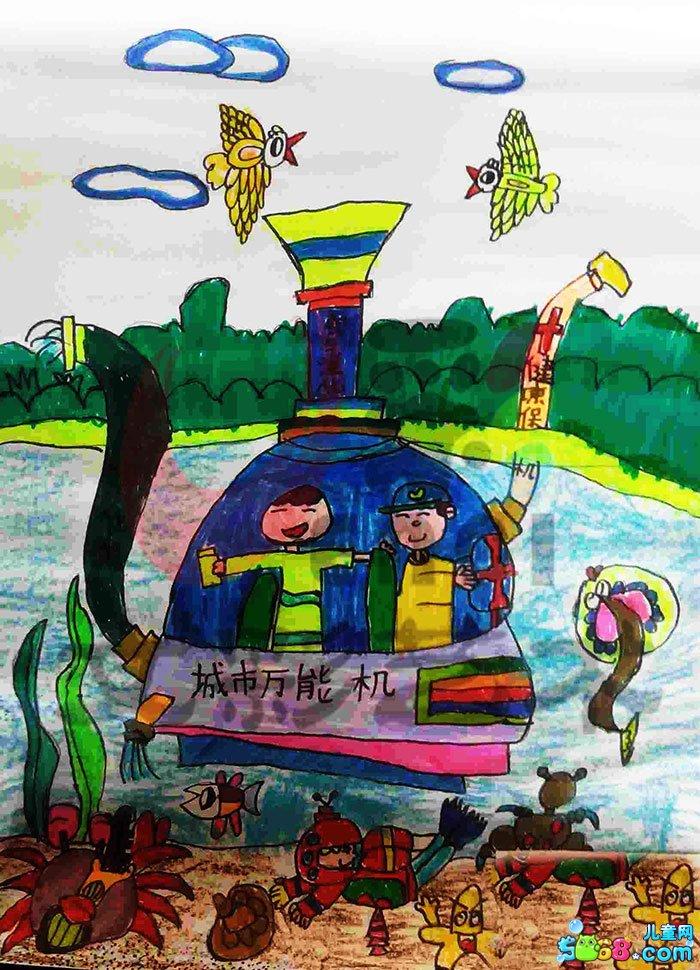 儿童水彩画《简单水彩画图片大全-城市万能机》