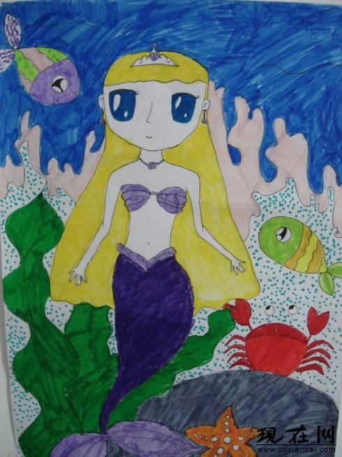 儿童水彩画《美人鱼》