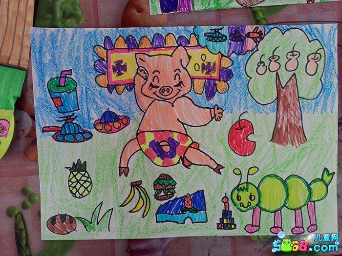 儿童水彩画《简单水彩画图片大全-调皮小猪》