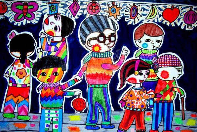 儿童水彩画《元宵节赏灯会手绘水彩画图片大全》