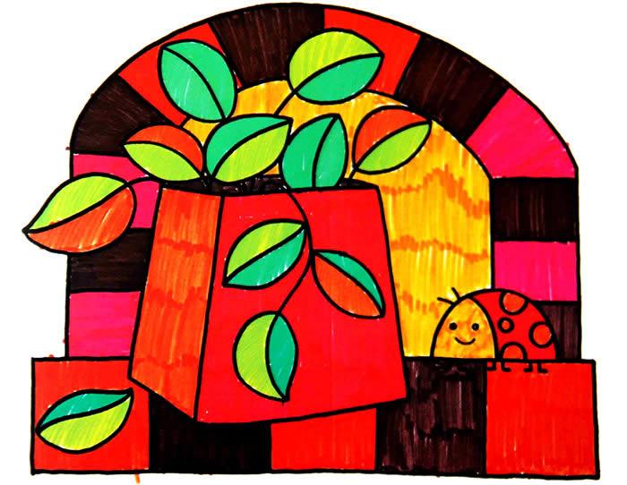 儿童彩笔画—美丽的窗边风景; 优秀儿童水彩画作品-嫩绿的枝芽1; 儿童