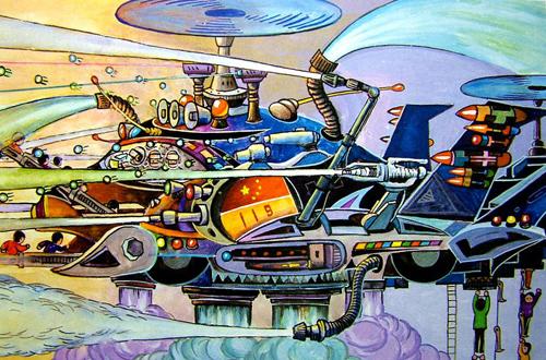 幼儿教育:儿童科幻画《未来的飞机》-中大网校儿童