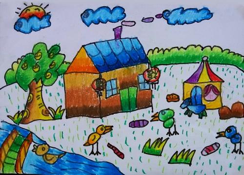 幼兒教育:兒童油棒畫《山里人家》-中大網校兒童教育