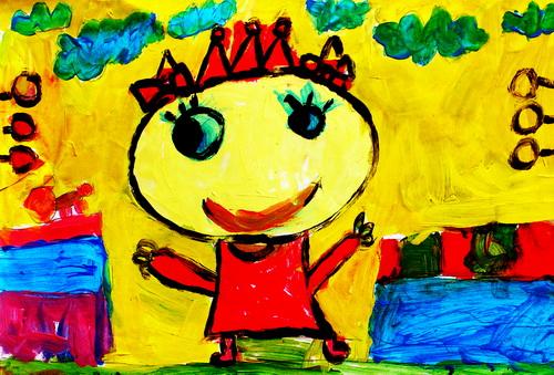 水粉画《我是可爱的小公主》