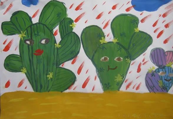 幼儿教育:儿童水彩画《仙人掌》-中大网校儿童教育网