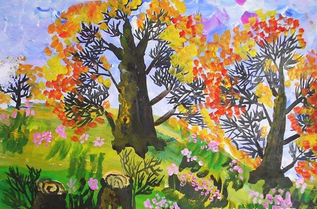 幼儿教育:水粉画《秋天的树林》-中大网校儿童教育网