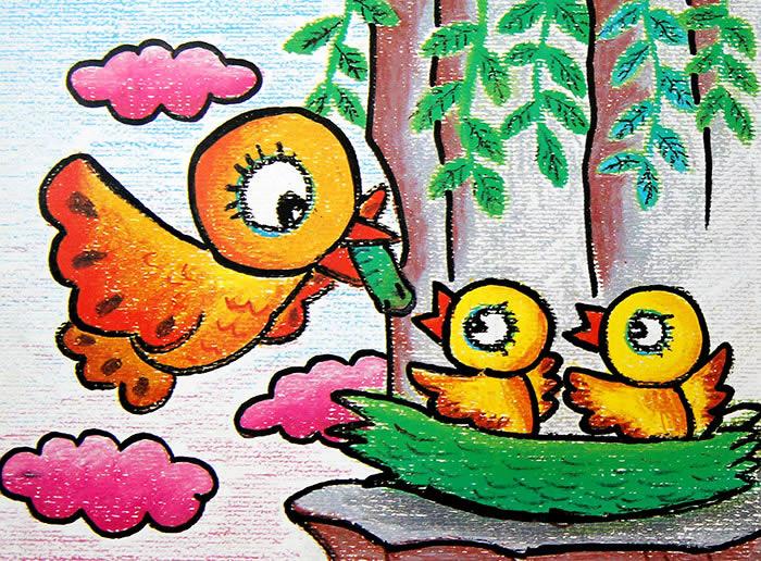 儿童画; 欣赏:鸟妈妈的爱; 177号作品:优秀儿童油画棒画欣赏:鸟妈妈的