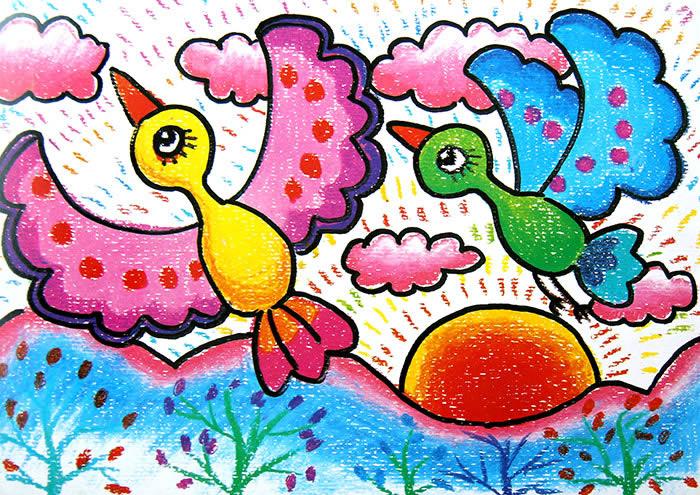 幼儿教育 儿童油棒画 飞翔的鸟儿 中大网校儿童