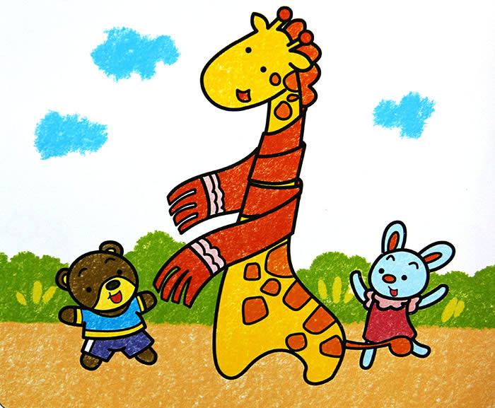 幼儿教育:儿童油棒画《长颈鹿的围巾》-中大网校儿童