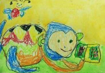 儿童油棒画《小猴子找妈妈》