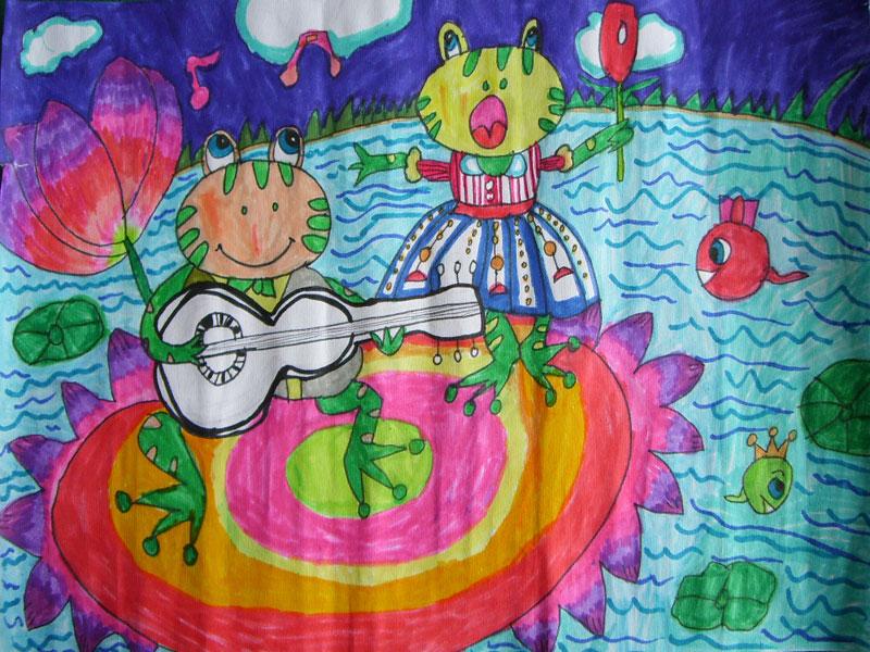 幼儿教育:儿童水彩画《青蛙演唱会》-中大网校儿童