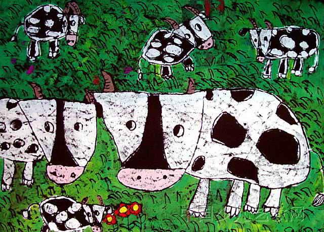 幼儿教育:儿童版画《《大草原上的牛》》-中大网校