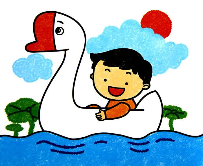 幼儿教育:儿童油棒画《漂亮的大鹅船》-中大网校儿童