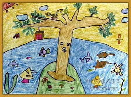 儿童水彩画《《大树的好朋友》》