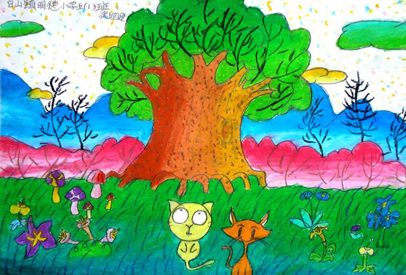 儿童油棒画《我家的小动物》