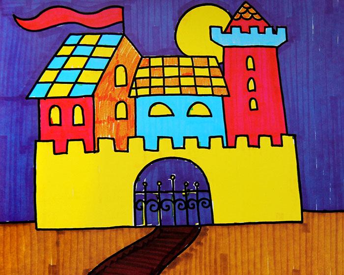 儿童水彩画《美丽的童话城堡》