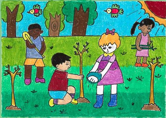 幼儿教育:儿童油棒画《植树》-中大网校儿童教育网