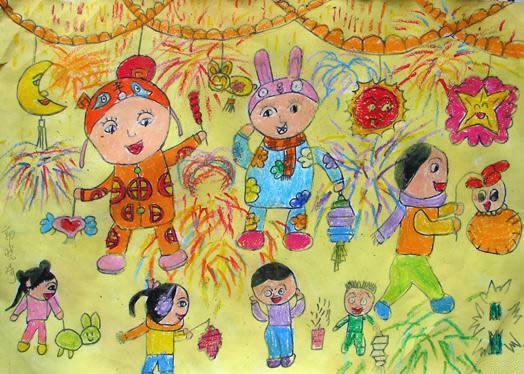 幼儿教育:儿童水彩画《张灯结彩迎元宵》-中大网校