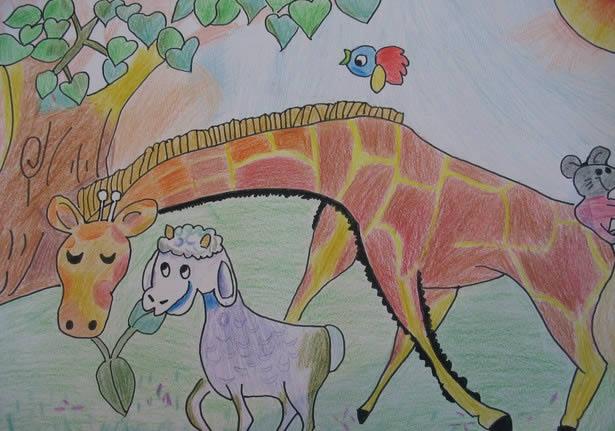 儿童水彩画《小羊和长颈鹿》