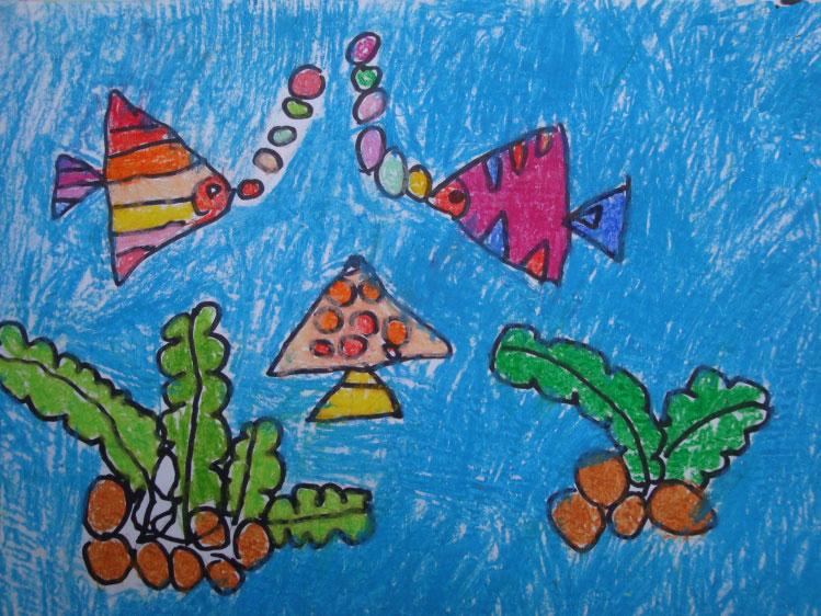 儿童油棒画《海底世界》