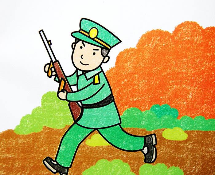 儿童油棒画《解放军叔叔》