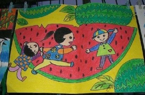 幼儿教育:儿童水彩画《我爱吃西瓜》-中大网校儿童
