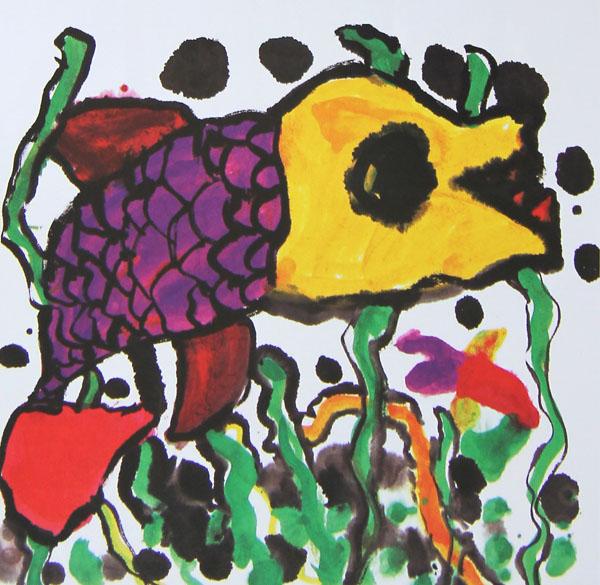 幼儿教育:中国风儿童画《大海里的鱼》-中大网校儿童