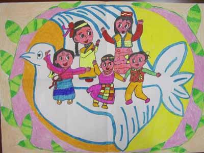 儿童水彩画《优秀儿童水彩画作品-民族团结