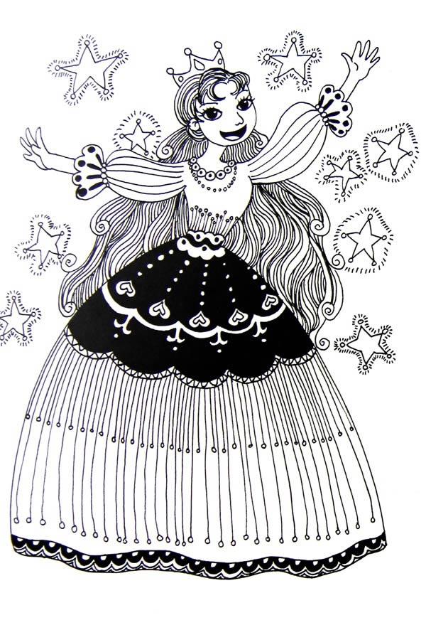 幼儿教育:线描《可爱的公主》-中大网校儿童教育网
