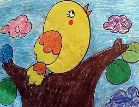 幼儿教育:儿童油棒画《树上的小鸟》-中大网校儿童
