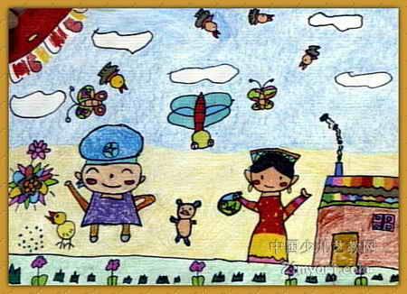 儿童水彩画《《新疆小姑娘》》