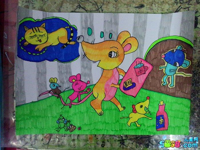 儿童水彩画《儿童水彩画图片大全-快乐的小老鼠》