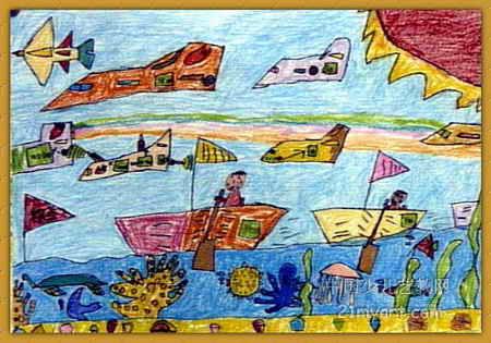儿童水彩画《《划船比赛》》