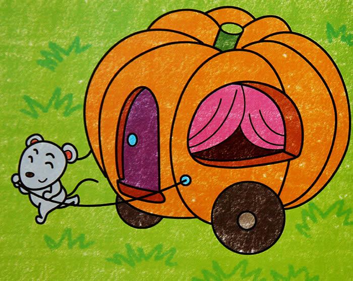 幼儿教育:儿童油棒画《老鼠的南瓜车》-中大网校儿童