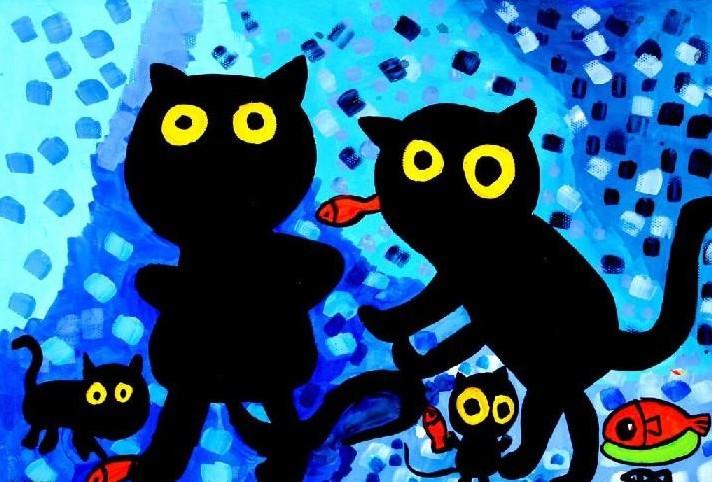 儿童水彩画《黑猫抓鱼》