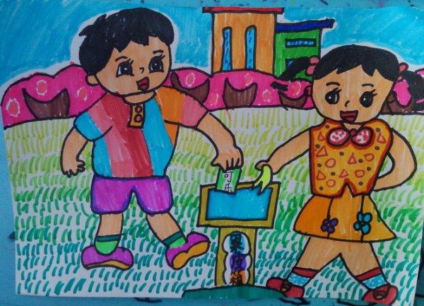 幼儿教育:儿童水彩画《爱护环境垃圾分类装》-中大
