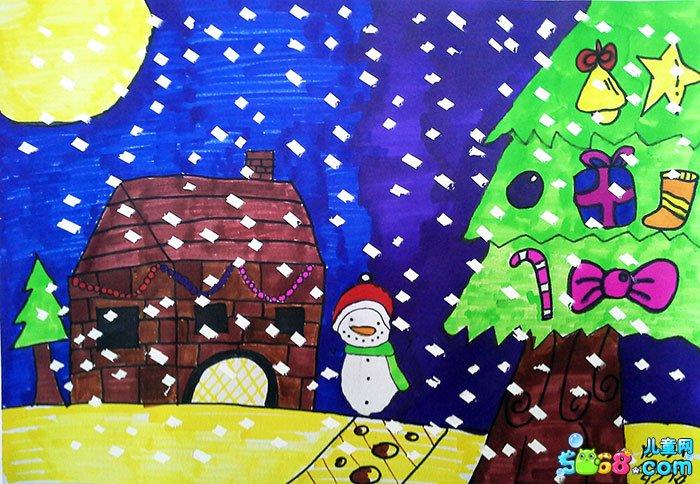 幼儿教育:儿童水彩画《冬天的图画儿童画-小屋旁边的