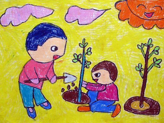 儿童水彩画《我们来种树啦》