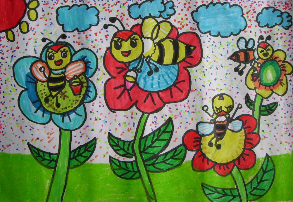 儿童水彩画《小蜜蜂》