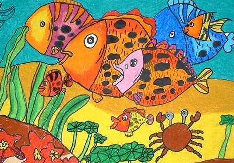 儿童水彩画《海底世界》