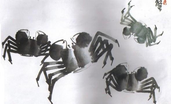螃蟹抽象画图片大全画