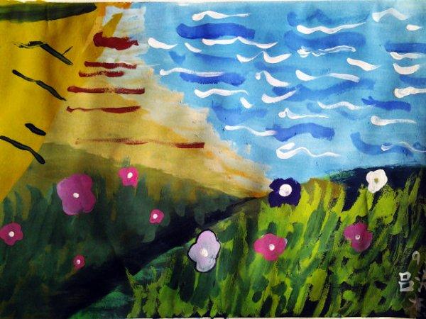 儿童水彩画《遥望大海》